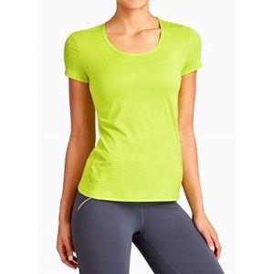 ATHLETA Neon Stripe Chi Workout Tee Top MEDIUM